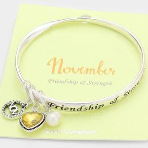 Silver & Yellow Heart November Bead Charm Bracelet